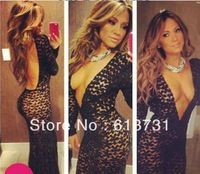 2014 New Arrival Sexy Long Sleeves Deep V Neck Open Back Black Lace Prom Dresses Mermaid Floor-Length Evening Party Gowns