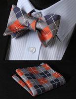 BC4008N Orange Gray Check Classic 100%Silk Jacquard Woven Men Butterfly Self Bow Tie BowTie Pocket Square Handkerchief Suit Set