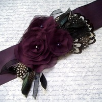 2014 Factory Promotion Stunning Wedding Belt Hand Made Flowers Lace feathers Black  Floral Bridal Belt  Wedding Belt