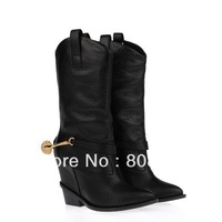 Wholesale Fashion Winter Buckle Brand  Genuine Leather Martin Ankle Boots Lady  Boots