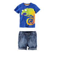 6set/lot wholesale boy's clothes, animal t-shirt denim pants baby boy's 2pcs set short sleeve, tshirt pants kid's clothes