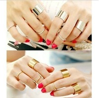 Free Shipping PR028 Korean 6Piece Set Metal Smooth Punk Women Man Adjustable Open Ring  Wholesale