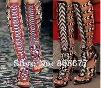 Knee High Gladiator Sandals For Women Leather Designer Vintage Shoes Brand Summer High Heel Gladiator Sandals Women
