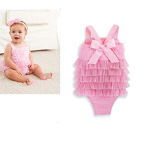 5pcs/lot wholesale gril's romper ,suspenders bowknot cake romper baby gril clothes, princess infant romper