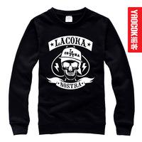 La coka nostra skull loose o-neck pullover sweatshirt male women's
