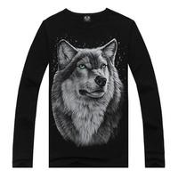 Hot sale Promotions Free Shipping long-sleeved men tops ees 3d shirt men Summer Lapel T-shirt t shirt men Three-dimensional wolf