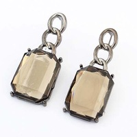 Fashion Elegant Gem Crystal Rectangle Geometry Stud Earring