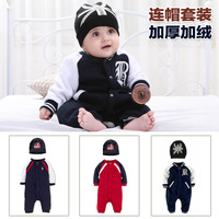 Hot-selling boys clothing spring and autumn polo fleece long-sleeve baby one piece romper hat 2 piece set