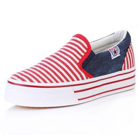 Free shipping 2013 platform shoes stripe canvas shoes lazy pedal foot wrapping shoes