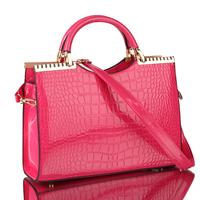 FREE SHIPPING  2013 fashion  alligator grain women leather handbag women messenger bag popular high-shine leather shoulder bag