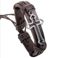 Brown Hollow Out Cross Genuine Leather Adjustable Bracelet For Unisex Women&Men Free Shipping RuYiSLQ131