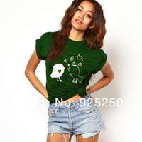 top for women summer fashion 2013 cotton  cute chicken heart print short sleeve t shirt green color  plus size free shipping