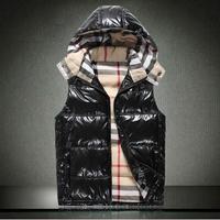 Fashion 2013 b male thermal down vest autumn and winter detachable cap down vest men's clothing