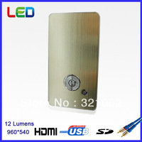 New Arrival 12 Lumens Led Pico Projector for Home Theater Q1080P 960*540 with Built-in Battery micro SD card,USB, HDMI, AV in