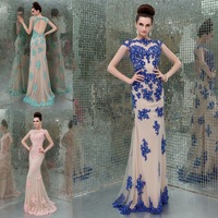 2014 New Sexy Custom Size Evening Gowns Appliqued Formal Mermaid Long Dresses