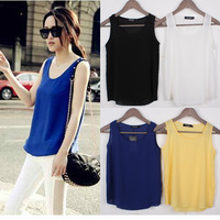 Hot Fashion Women Chiffon Sleeveless Shirt Vest Vest Tank Tops Blouse Waistcoat   s-XXXXL