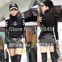 women's clothing  new autumn winter Fashion patchwork leather torx turtleneck  sweater slim all-match basic shirt