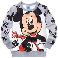 Children's clothing 100% cotton print o-neck grey sweatshirt t-shirt
