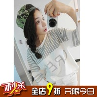 Small autumn women's stripe color block decoration grey letter baseball lovers loose t-shirt long-sleeve