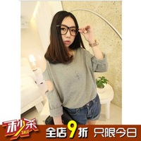 Small autumn fashion strapless all-match loose solid color t-shirt long-sleeve top female
