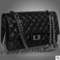 Hot sale 2013 new fashion women black color shouder bag plaid messanger bag with chain ladies pu handle bag high quality