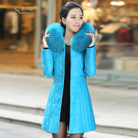 2013 genuine leather clothing female medium-long sheepskin genuine leather hooded down coat female