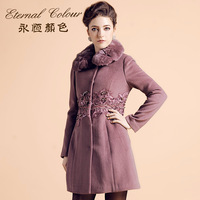 Eternal women's color winter rabbit fur wool slim wool coat outerwear e42194