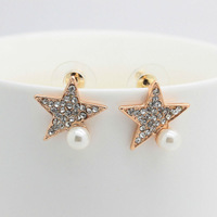 Wholesale Fashion Jewelry White Pearl Earring,18K Gold Plated Rhinestone Star Stud Earrings,Free shipping For Women 2013 ZCS02