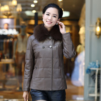 H3 h genuine leather clothing female short design quinquagenarian genuine sheepskin leather down coat mother clothing fox fur