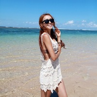 White crochet 2013 cutout one-piece dress tank dress sexy bikini shirt vacation beach dress