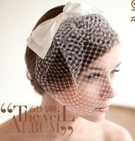 European and American wedding dress bridal veil headdress hair accessories big mesh gauze veil bow