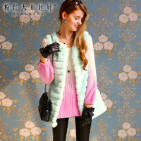 autumn and winter 2013 design winter fashion long fur faux fur long - Vest or women's blue