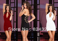 New Fashion Elegant V-neck Sleeveless Backless Bandage Stretch Slim Temperament Charm Sexy Club Mini Women Dresses