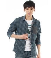 Free shipping spring autumn hot plaid men's shirt casual long sleeve shirts for men grey/blue M/L/XL/XXL