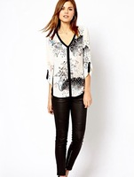 Sexy Women's V-Neck Printed Blouses Elegance Female Casual Women Shirts WCS11150