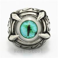 New Design Christmas Gift Top Popular Nice Eye Stone Mens Boys 316L Stainless Steel Eagle Dragon Claw Light Green Eyeball Ring