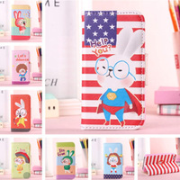For Apple iPhone4 4S 4G New Cartoon Rabbit Series PU Leather Stand Case