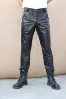New 2013 Original design male genuine leather pants cowhide slim pants