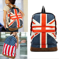 Canvas UK&USA Flag Punk BackPack Shoulder Bag School Book Campus Bag