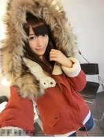 Large cap thicker winter models - ladies lace collar thick lamb's wool coat hooded wool coat jacket