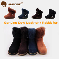 Arrival New 2013 Winter Women Boots Brand Snow Boots for Women Genuine Leather Shoes Rabbit fur Warm 4 Colors Gifts Black Coffee