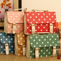 2014 vintage polka dot candy color women's handbag messenger shoulder bag,free shipping