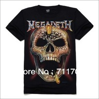 2014 New arrival fashion 3D printed Bullet Skull men's t shirt short sleeve cotton 3D Tshirt Rock roll T-shirt S-XXL Size Tees