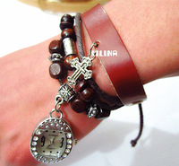 Hot! Women Fashion Leather retro style beaded cross pendant Watches
