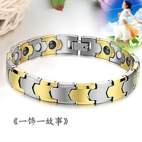 Tungsten steel magnetic therapy anti fatigue bracelet tungsten bars and rods gold radiation-resistant hand ring red envelope