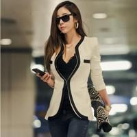 New fashion Women Long Sleeve Slim Brand Jacket Lady Autumn V-neck Black White Suit OL Jackets Plus Size