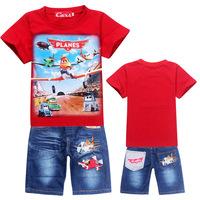 HOT SALE  DUSTY PLANE New 2014 baby boy kids Clothing sets Sport Sweatshirt +Jeans clothes Children suits boys girls sets
