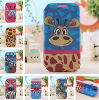 For Samsung I9500 Galaxy S4 New Cartoon Zebra Series PU Leather Stand Case