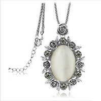 Min.order $15) 2013 Fashion flower artificial opal pendant necklaces for women,Antique silver long sweater necklace chain,N075