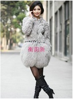 Wool fur coat beach wool patchwork fur vest winter  fur coat
